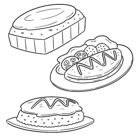 vector set of omelette rice Illustration