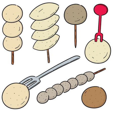 Vektorsatz von Fleischbällchen, Fischbällchen, Schweinefleischbällchen und Garnelenbällchen