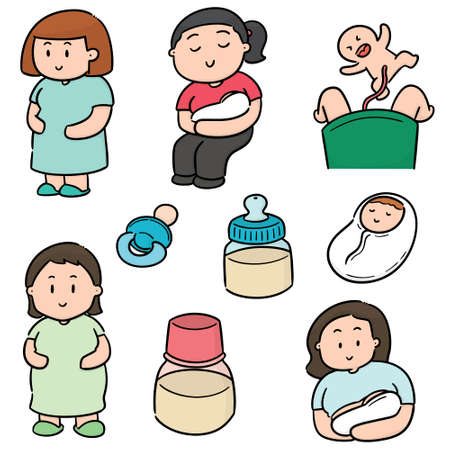 vector set of pregnant woman and baby