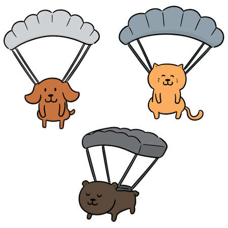 vector set of animal parachuting