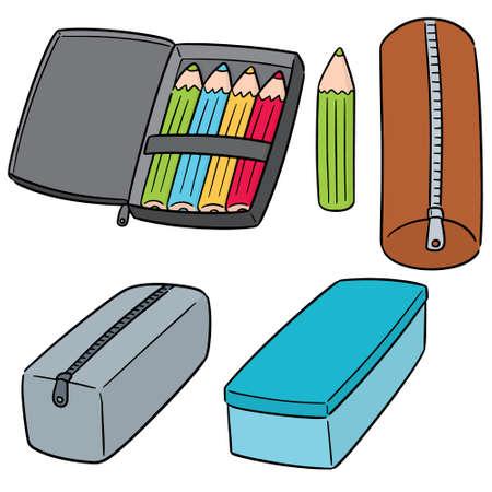 vector, conjunto, de, caja de lápiz