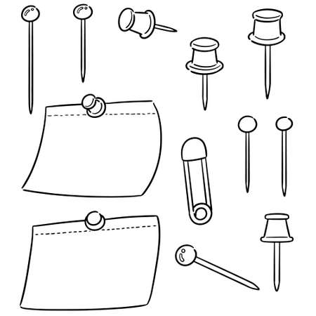 vector set of pin and memonote Ilustracja