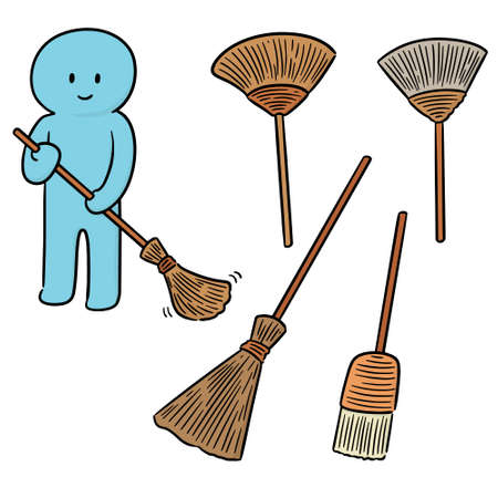 vector set of broom Illustration