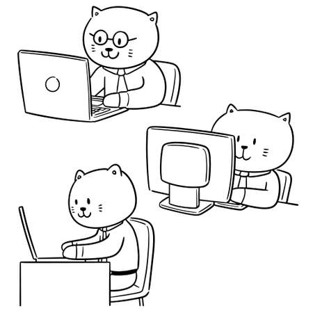 vector set of cat office worker Illustration
