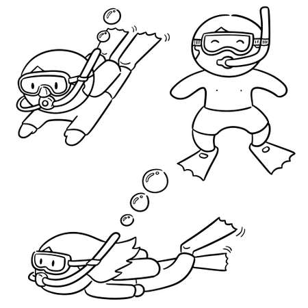 vector set of diver Illustration