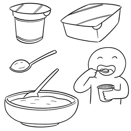 vector set of yogurt Illustration