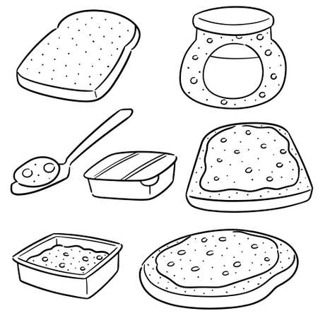 vector set of jam and bread Illustration