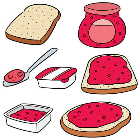 vector set of jam and bread Stock Vector - 127573261