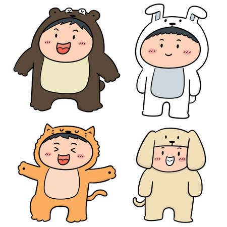 vector set of kids wearing animal suits