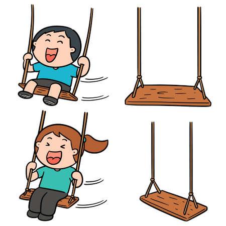 vector set of kid swing Illustration