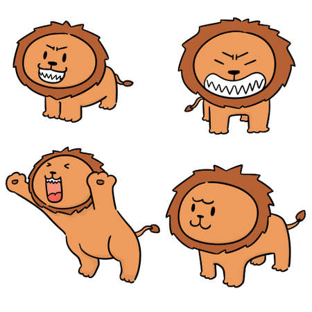 vector set of lions