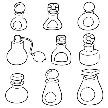 vector set of perfume bottle