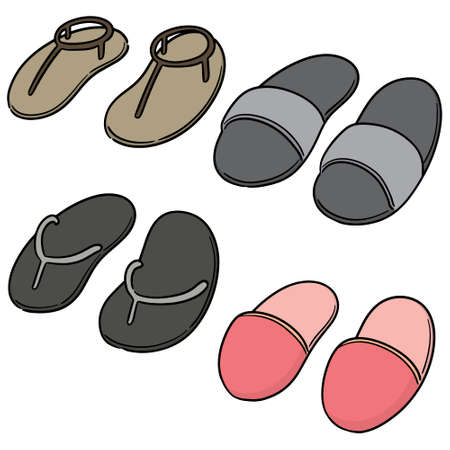 vector set of slippers