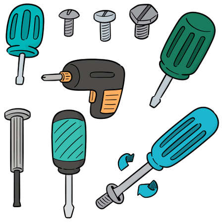 vector set of screw and screwdriver