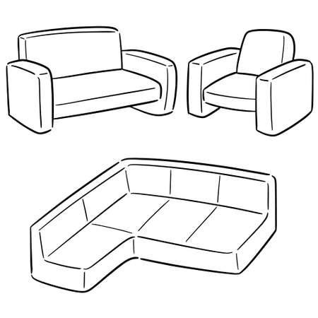 vector set of sofa Illustration