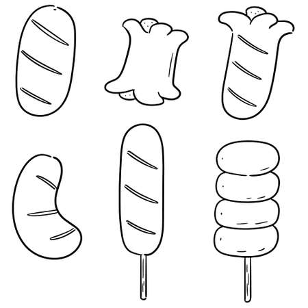 vector set of sausages