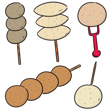 vector set of meatball, fish ball, pork ball and shrimp ball