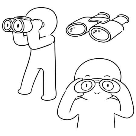 vector set of people using binoculars