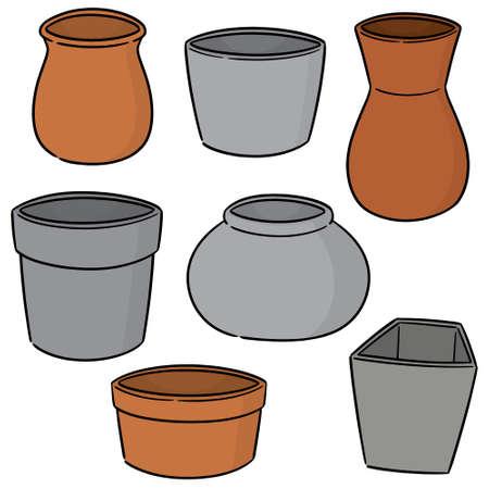 vector set of pots