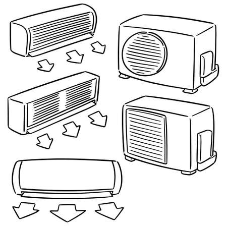 vector set of air conditioner Stock Illustratie