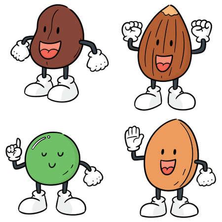 vector set of beans cartoon Illustration