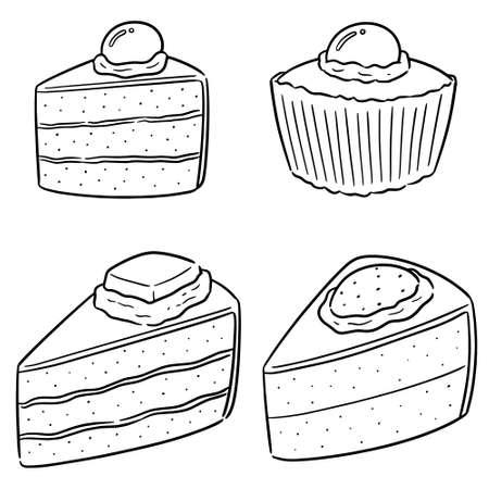 vector set of cake Illustration