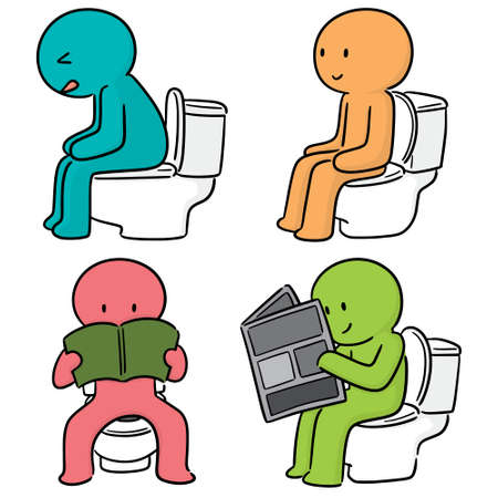 vector set of people use flush toilet