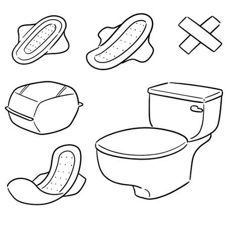 vector set of sanitary napkin