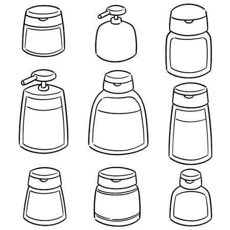 vector set of shampoo and liquid soap bottle