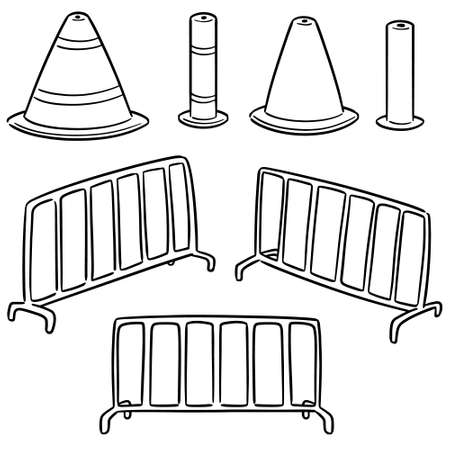 vector set of traffic cone and traffic fence