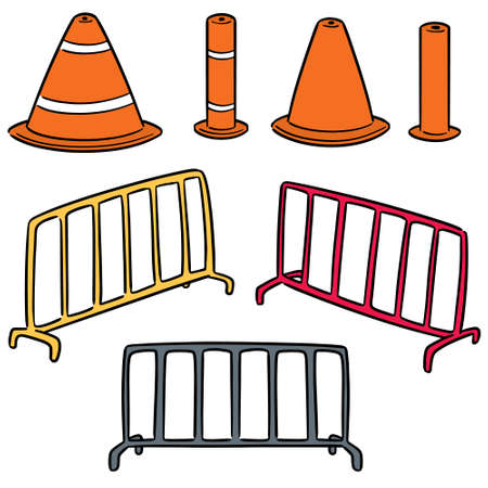 vector set of traffic cone and traffic fence  イラスト・ベクター素材