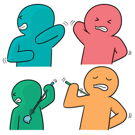 vector set of people scratching back