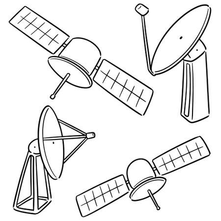 vector set of satellite and satellite dish Illustration