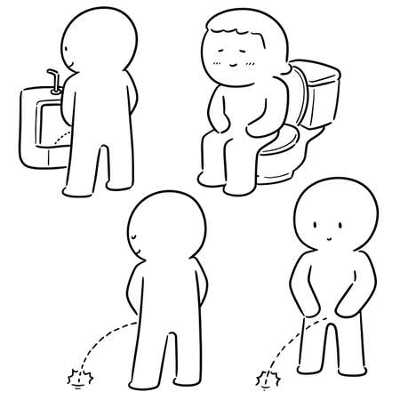 vector set of people peeing Illustration