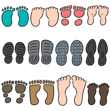 vector set of footprints and shoeprints Illustration