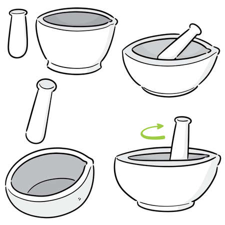 vector set of mortar and pestle