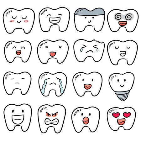 vector set of teeth Ilustração