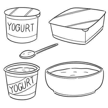 vector set of yogurt Ilustração