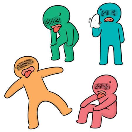 vector, conjunto, de, gente cansada Ilustración de vector