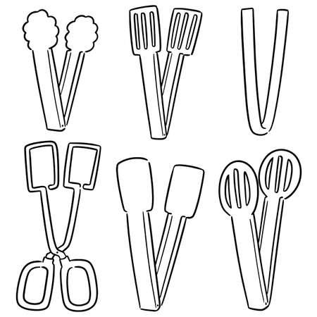 vector set of tongs