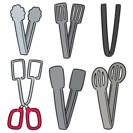vector set of tongs