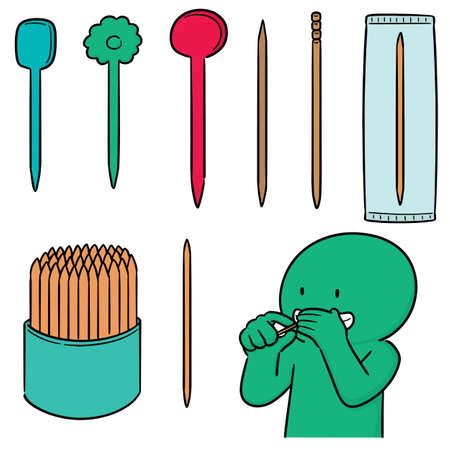 vector set of toothpick Vettoriali