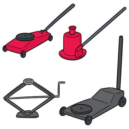 vector set of car jack
