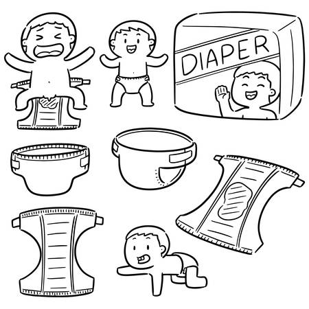 vector set of diaper