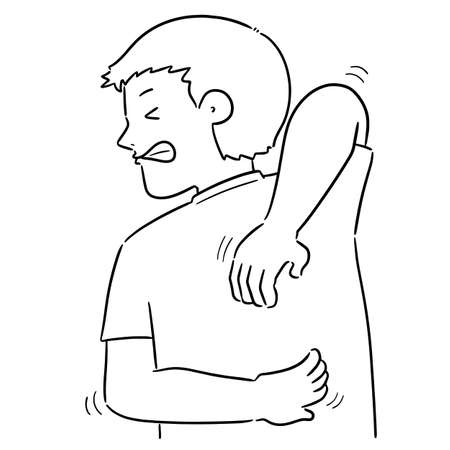 vector of man scratching back
