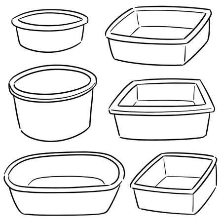 vector, conjunto, de, plástico, cuenca Ilustración de vector