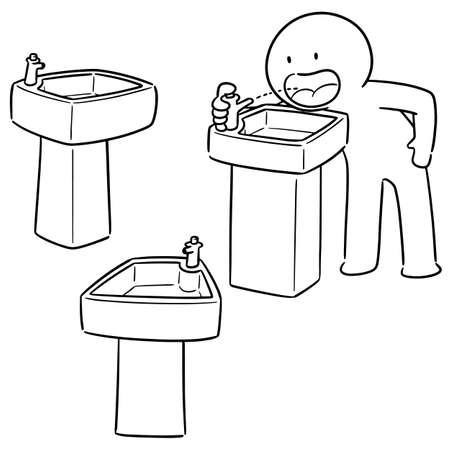 set vettoriale di fontana di acqua potabile