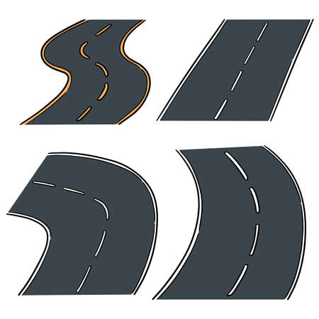 vector set of road Иллюстрация