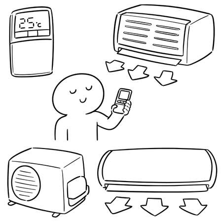 vector set of air conditioner
