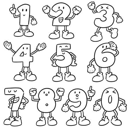 vector set of number cartoon